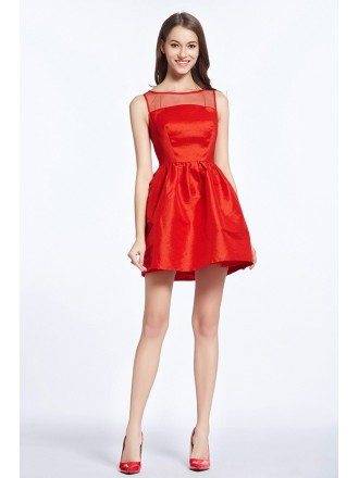 Little Red Satin Mini Wedding Party Dress
