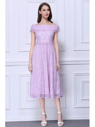 Feminine A-Line Off-the-Shoulder Lace Tea-Length Dress