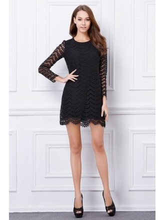 Chic Black Lace Mini Weeding Guest Dress With Long Sleeves