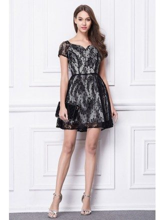 Chic Black Lace Mini Weeding Guest Dress With Cape Sleeves
