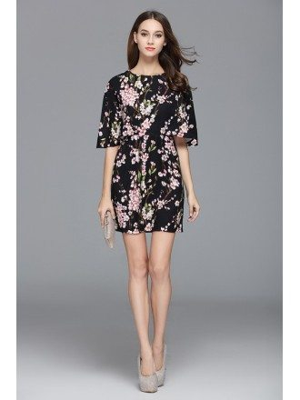 A-line Scoop Neck Floral Print Short Fashion Dress With Sleeves