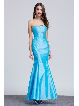 Fancy Mermaid Strapless Taffeta Long Evening Dress With Ruffle
