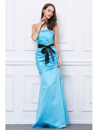 Elegant Mermaid Strapless Satin Long Prom Dress With Bow