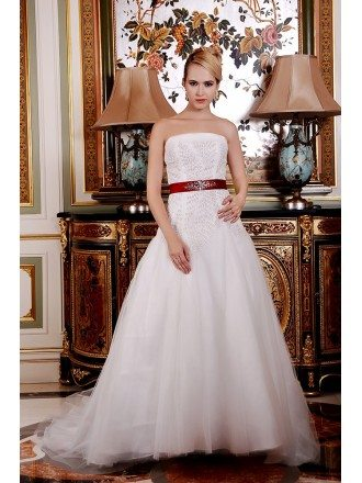 A-Line Strapless Chapel Train Organza Wedding Dress With Beading Bow