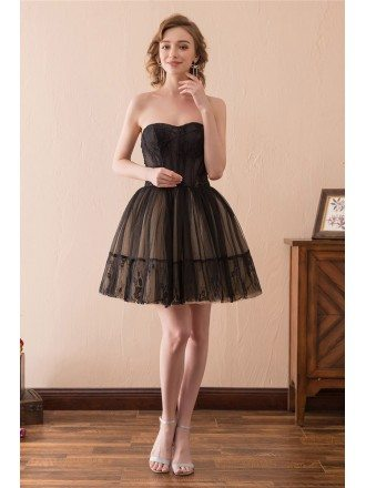 Black Short Tulle Prom Dress Strapless With Lace Trim