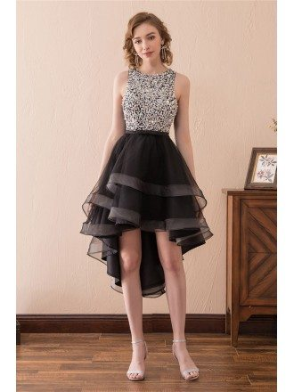 2018 High Low Black Prom Dress With Sparkly Bodice For Teens
