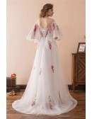 Fairy Tale Off The Shoulder Puffy Prom Dress With Color Embroidery