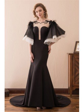 Unique Black Long Trumpet Formal Dress With Puffy Sleeves Train