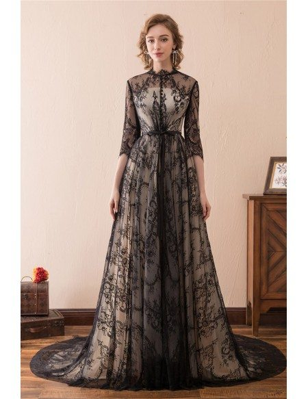 modest evening gowns with sleeves