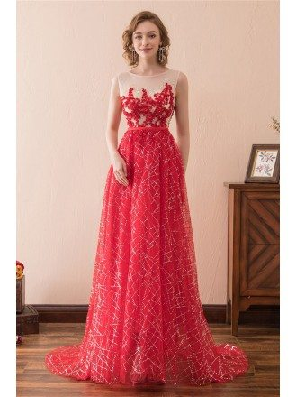 Sparkly Sequined Red Prom Dress Long With Lace Beading Train