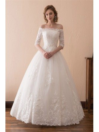 Off The Shoulder Lace Ballroom Wedding Dress With 1/2 Sleeves