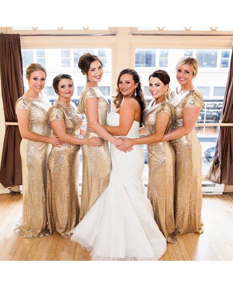 Elegant Long Gold Sequin Bridesmaid Dresses Under 100 For Wedding With Short Sleeves Cowl Back S7ck87 Gemgrace