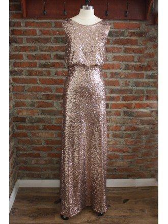 Classy Sparkly Rose Gold Sequin Bridesmaid Dresses Long Sleeveless With Round Neck