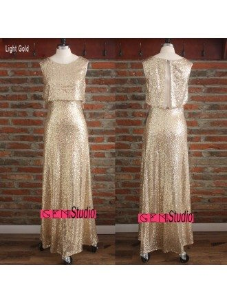 Cheap Formal Gold Sparkly Bridesmaid Dresses Long Sequin Dress Sleeveless Under $100