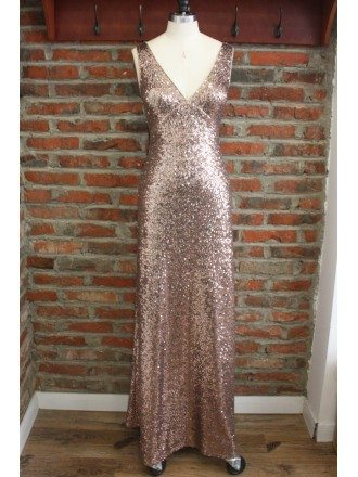 Unique Rose Gold Long Metallic Sequin Bridesmaid Dresses Backless Open Back For Formal