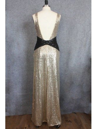 Sexy Backless Sparkly Gold Prom Dresses Long Formal Dress With V-neck Open Back
