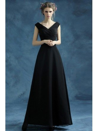 Simple Black Long Evening Dress With Pleated V Neck