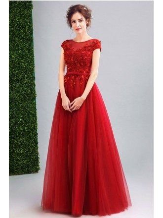 Modest Tulle Burgundy Prom Dress Long With Lace Beading Top
