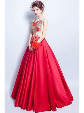 Unique Red Satin Formal Gown Dress Long With Applique Flowers