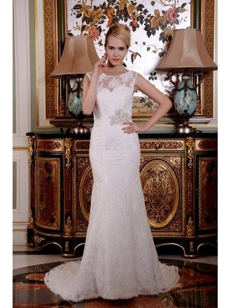 Mermaid Scoop Neck Sweep Train Lace Wedding Dress With Beading