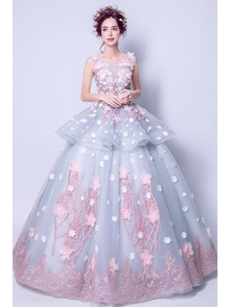 Grey Pink Ball Gown Quinceanera Prom Dress Long With Florals