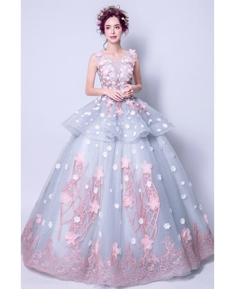 Grey Pink Ball Gown Quinceanera Prom