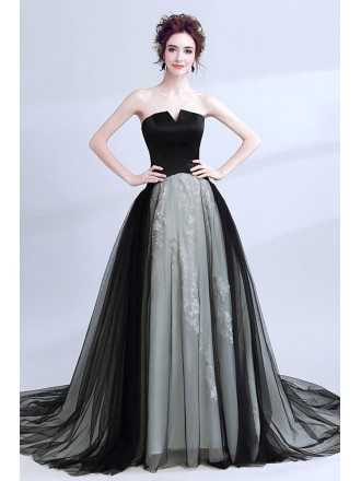 Strapless Black Long Prom Gowns With Grey Lace
