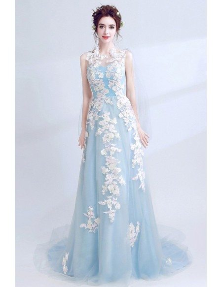 Sleeveless Blue Long Prom Dress With Lace Bodice