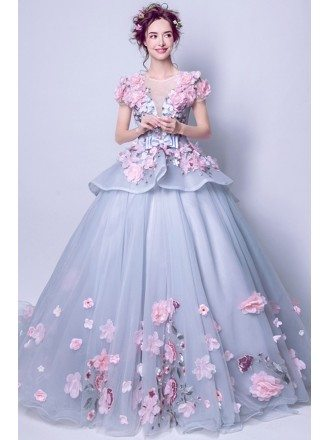 Junior's Grey With Pink Floral Prom Dress With Big Ball Gown