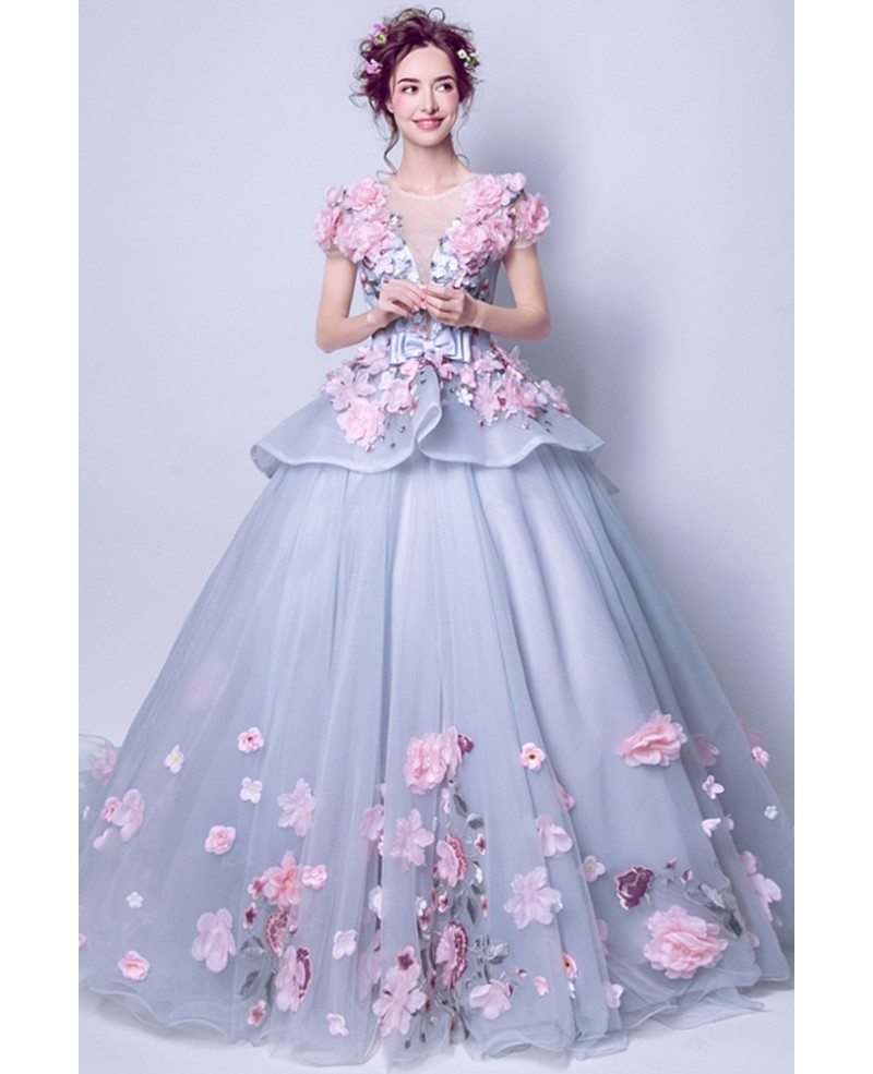 Junior S Grey With Pink Floral Prom Dress With Big Ball Gown Agp18045 Gemgrace Com