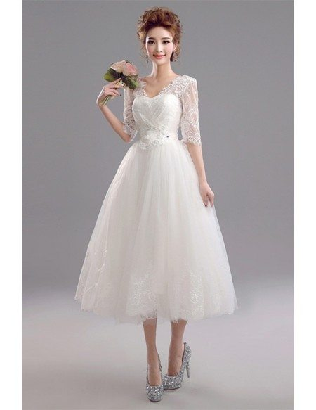 Backless Midi Ivory Bridal Party Dress With 1/2 Lace Sleeves