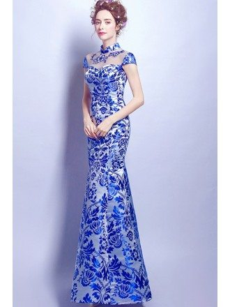 Vintage Blue Floral Print Formal Dress In Fitted Mermaid Style