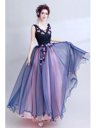 Dark Navy Blue Floral Prom Dress Long V-neck For Juniors