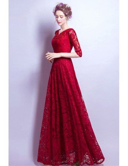 All Lace V-neck Red Evening Dress In Floor Length For 2018