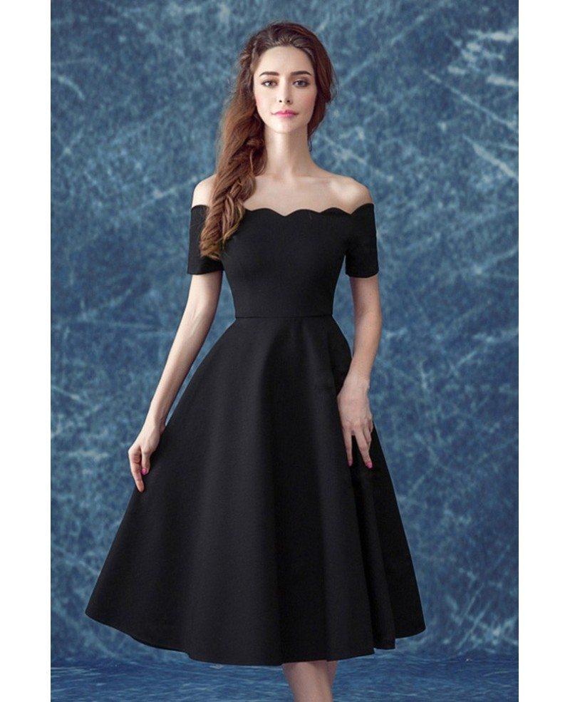 Midi Simple Black Formal Dress With Off The Shoulder Sleeves Agp18090 Gemgrace Com