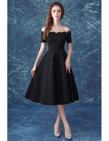 Midi Simple Black Formal Dress With Off The Shoulder Sleeves