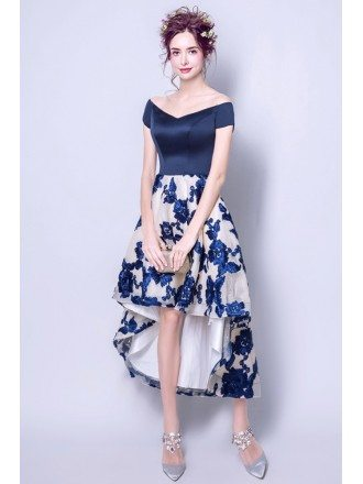 Stylish High Low Prom Dress Off The Shoulder With Floral Skirt