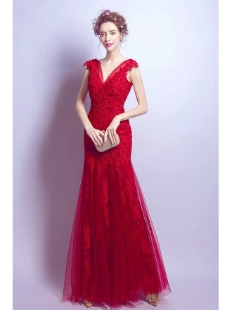 Fit And Flare V-neck Prom Dress Long In Red Lace With Crystals