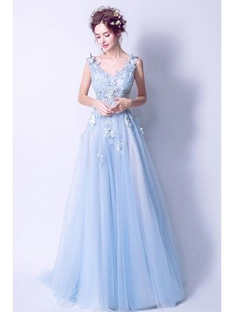 Elegant V-neck Light Blue Prom Dress Long With Floral Beading