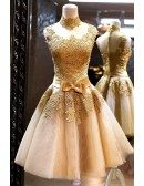Vintage Gold Lace Graduation Dress Short For Juniors