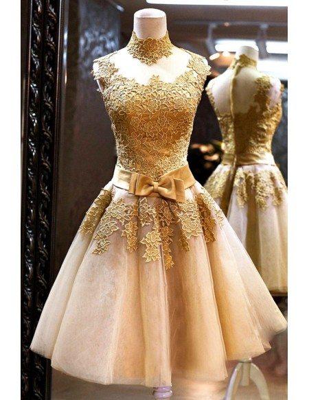 Vintage Gold Lace Graduation Dress Short For Juniors Agp18105 Gemgrace