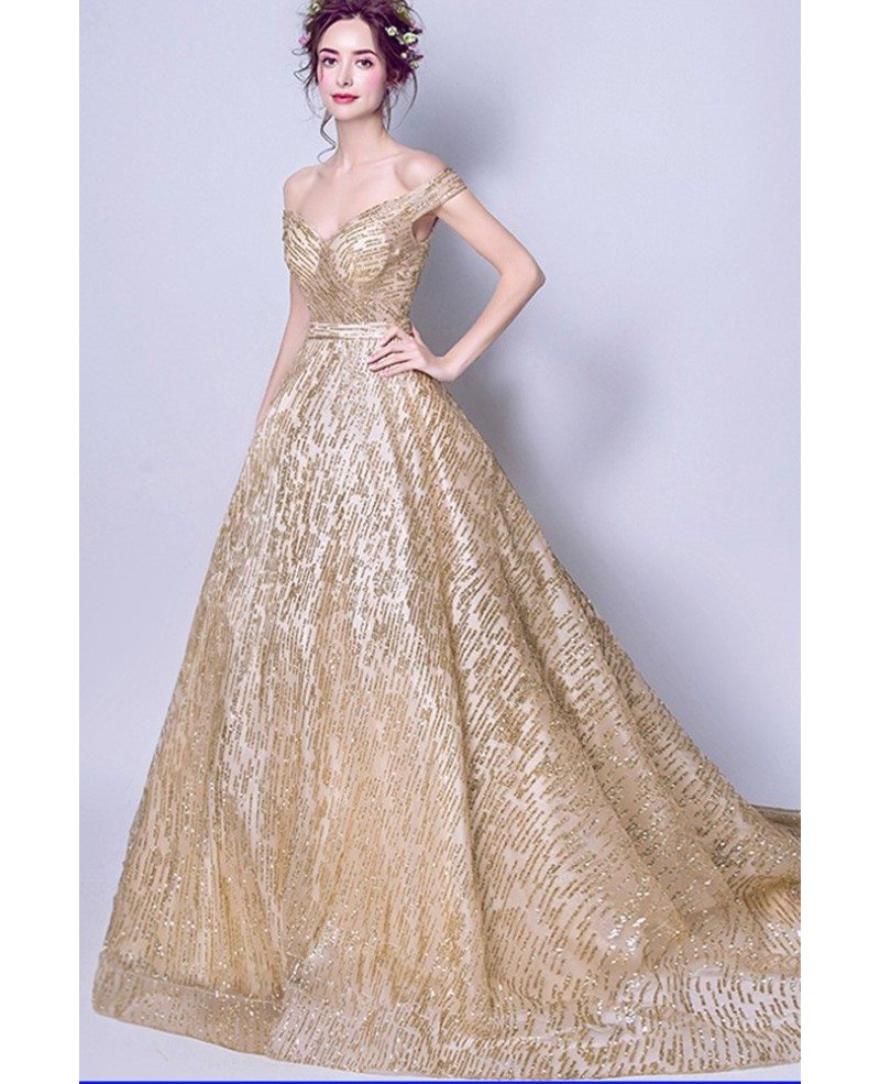 Sparkly Sequined Gold Ball Gown Prom Dress With Off