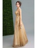 Bling-bling Modest Gold Prom Formal Dress Long For Women