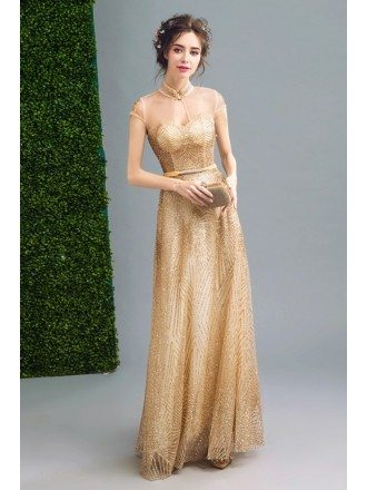 Bling-bling Modest Gold Prom Formal Dress Long For Women
