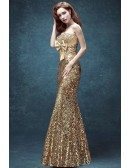 Sparkly Gold Tight Prom Fress Strapless Long With Sequnis