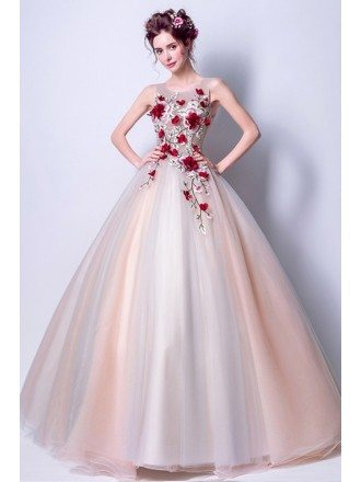 Cheap Floral Ball Gown Prom Dress Unique For Juniors 2018