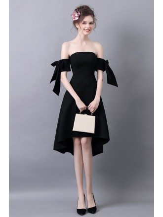 High Low Slim Black Prom Dress With Off The Shoulder Straps