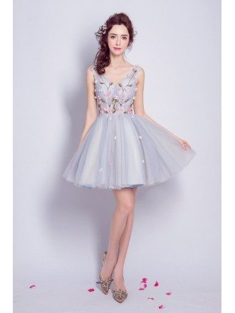 V-neck Floral Beading Cocktail Homecoming Dress Grey For Juniors