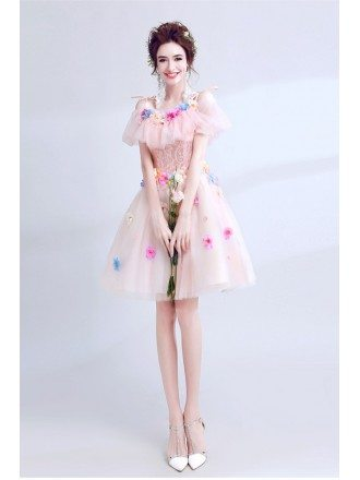 Unique Colorful Florals Homecoming Dress Poink For Juniors 2018