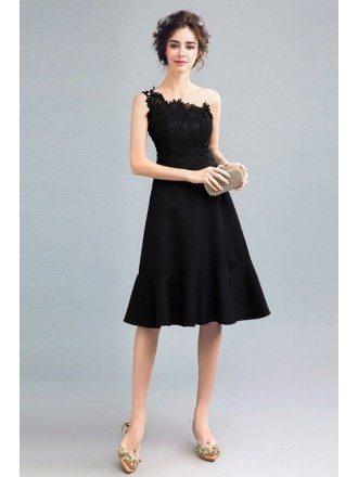 Knee Length Black Slit Prom Dress With One Shoulder Strap